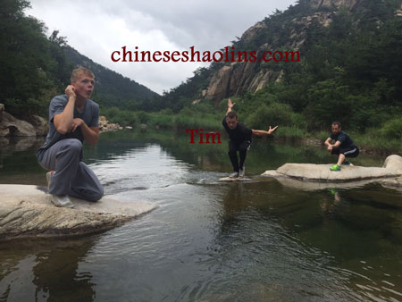 Performing Shaolin animal kungfu in Kunyu mountain Shaolin martial arts academy