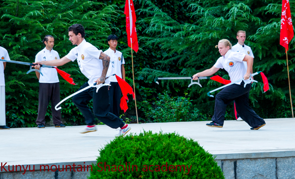 Performing Shaolin weapon
